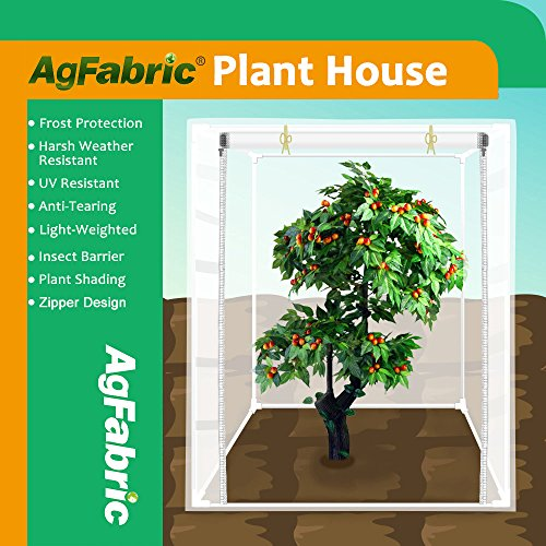 """Agfabric Plant Cover Warm Worth Frost Blanket – 1.5 oz Fabric of 96""""x84""""x30"""" Shrub Jacket, 3D Cube Plant Cover with zipper for Season Extension&Frost Protection"""