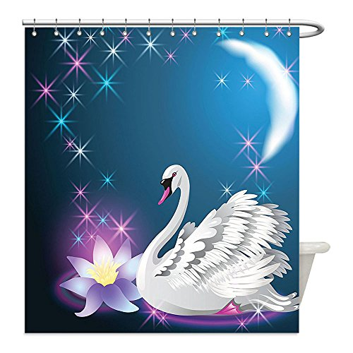 Swan Lake Costume Diy (Liguo88 Custom Waterproof Bathroom Shower Curtain Polyester Animal Decor Magic Lily and Fairy Swan at Night Swimming in the Lake under Moon and Stars Picture Art Decor Blue White Decorative bathroo)