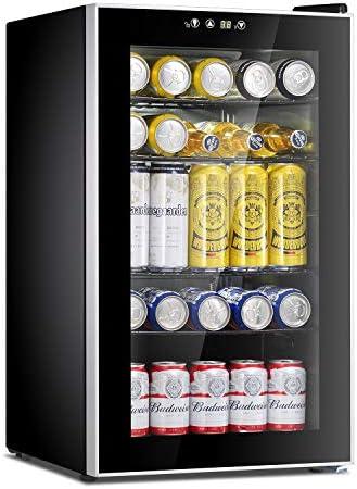 Antarctic Star Beverage Refrigerator Cooler – 85 Can Mini Fridge Glass Door for Soda Beer or Wine Glass Door Small Drink Dispenser Machine Adjustable Removable for Home, Office or Bar, 2.9cu.ft.