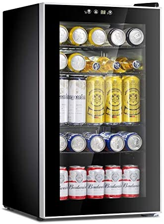 Antarctic Star Beverage Refrigerator Cooler-85 Can Mini Fridge Glass Door for Soda Beer Wine Stainless Steel Glass Door Small Drink Dispenser Machine Digital Display for Home, Office Bar,2.3cu.feet
