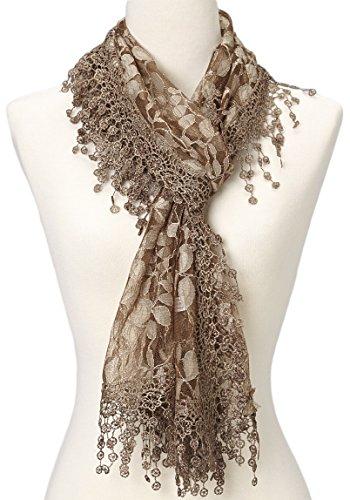 Women's lightweight Feminine lace teardrop fringe Lace Scarf Vintage Scarf Mesh Crochet Tassel Cotton Scarf for Women,One Size,Brown 21 (Dress Tan Jacket)