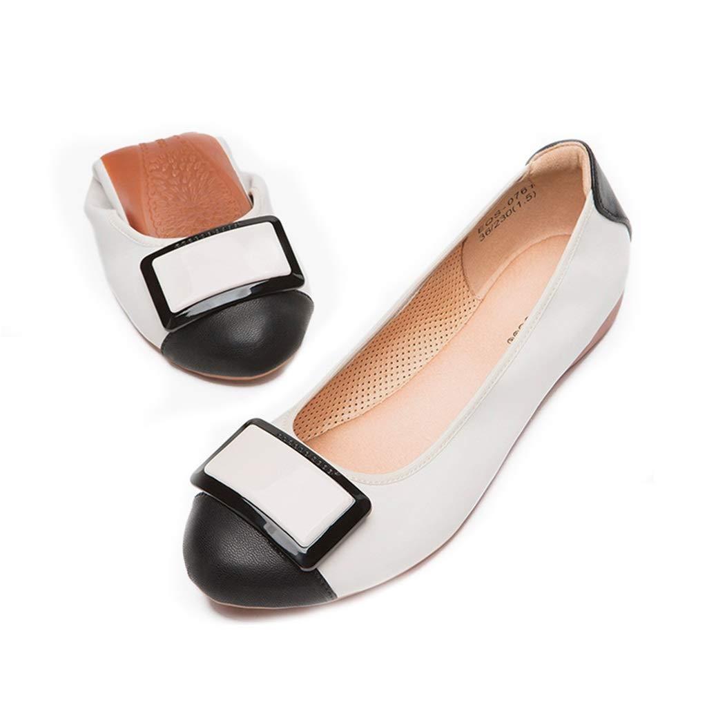 TD Pumps Single schuhe Einzelne Schuhe Weibliche Runde Kopf Farbabstimmung Flache Schuhe Flachen Mund Mode Wilden Bequemen Weichen Boden Schuhe (Farbe   Weiß+schwarz größe   EU36 UK4 CN36)