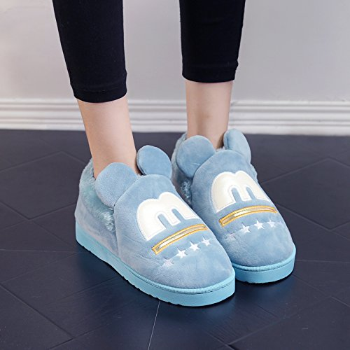 Y-Hui in inverno di cotone femmina pantofole Casa arredamento per interni di spessore antislittamento caldo pantofole pantofole gli amanti del maschio,36/37 (Fit per 35-36 piedi),verde