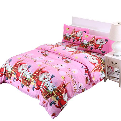 Christmas Twin - Christmas Duvet Cover Twin,Pink 3D Bedding Santa Cluas Home Decor Gifts for Girls Kids