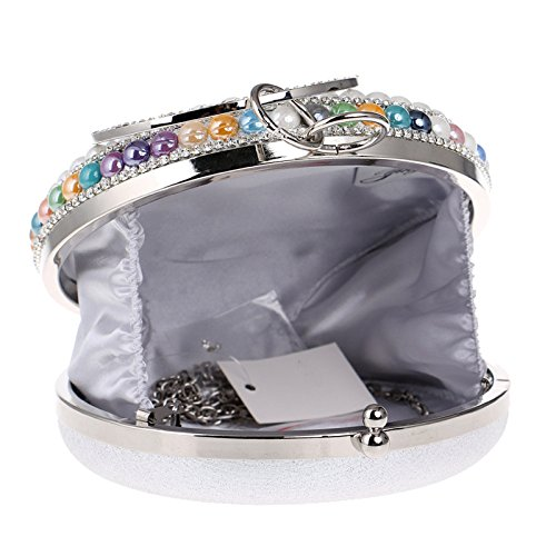Party Bag Clutch Bridal Beaded Wedding Silver Gift Diamante Bag Women For Shoulder Evening Prom Glitter Ladies Purse Handbag Clubs Circular q65x7wgFR7