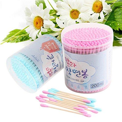 Joyfeel buy Bastoncillos de algodón bastoncillo oido con Asas de Madera para Limpieza, Maquillaje y Hotel, 200 por Paquete, Color Aleatorio