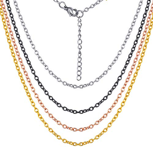 ChainsHouse 2MM Thin O Cable Chain Necklace for Women Men 18K Gold Plated Rolo Link Chain, Gift for Boys Girls, 18 ()