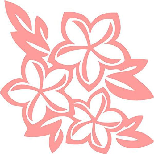 Plumeria Flowers Hawaii Decal Sticker Car Motorcycle Truck Bumper Window Laptop Wall Décor Size- 6 Inch Tall White Color