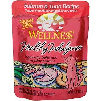 Wellness Healthy Indulgence Salmon & Tuna Recipe Grain Free Cat Food Pouches