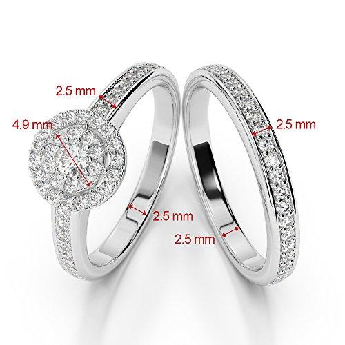 G-H/VS 0,10ct Coupe ronde sertie de diamants Rubis et diamants blancs et bague de fiançailles en platine 950Agdr-1239