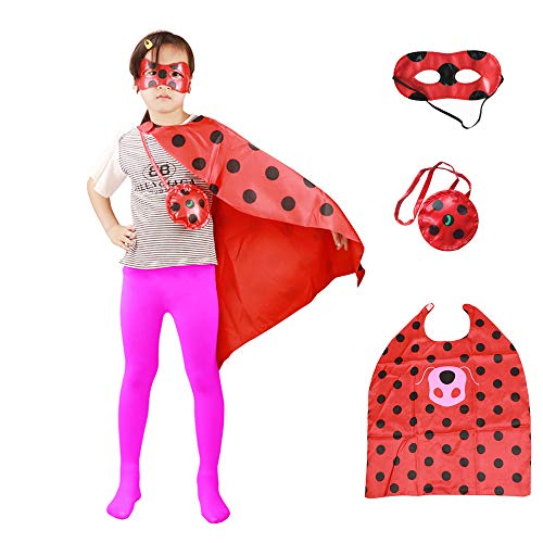 HuangWeida Kids Costume Ladybug and Cat Noir Superhero Capes with Mask for Girls and Boys Party Halloween Christmas Fancy Dress