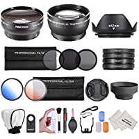 Neewer® 52MM Professional Accessory Kit for NIKON DSLR (D5300 D5200 D5100 D5000 D3300 D3200 D3000 D90 D80)- Includes: 0.45x Wide Angle & 2x Telephoto Lenses + Remote Control + Filter Kit (UV, CPL, ND8) + Macro Close-Up Set + Tulip Lens Hood + Collapsible Lens Hood + Center Pinch Lens Cap + 2 Color Filters +Soft Flash Diffuser & 3-Pcs Pop-Up Flash Diffuser Kit + Deluxe Cleaning Kit with Microfibers
