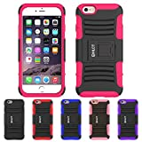 iPhone 6S Plus Case, iPhone 6 Plus Case, HLCT Rugged Shock Proof Dual-Layer Case with Built-In Stand Kickstand (Rose Pink)