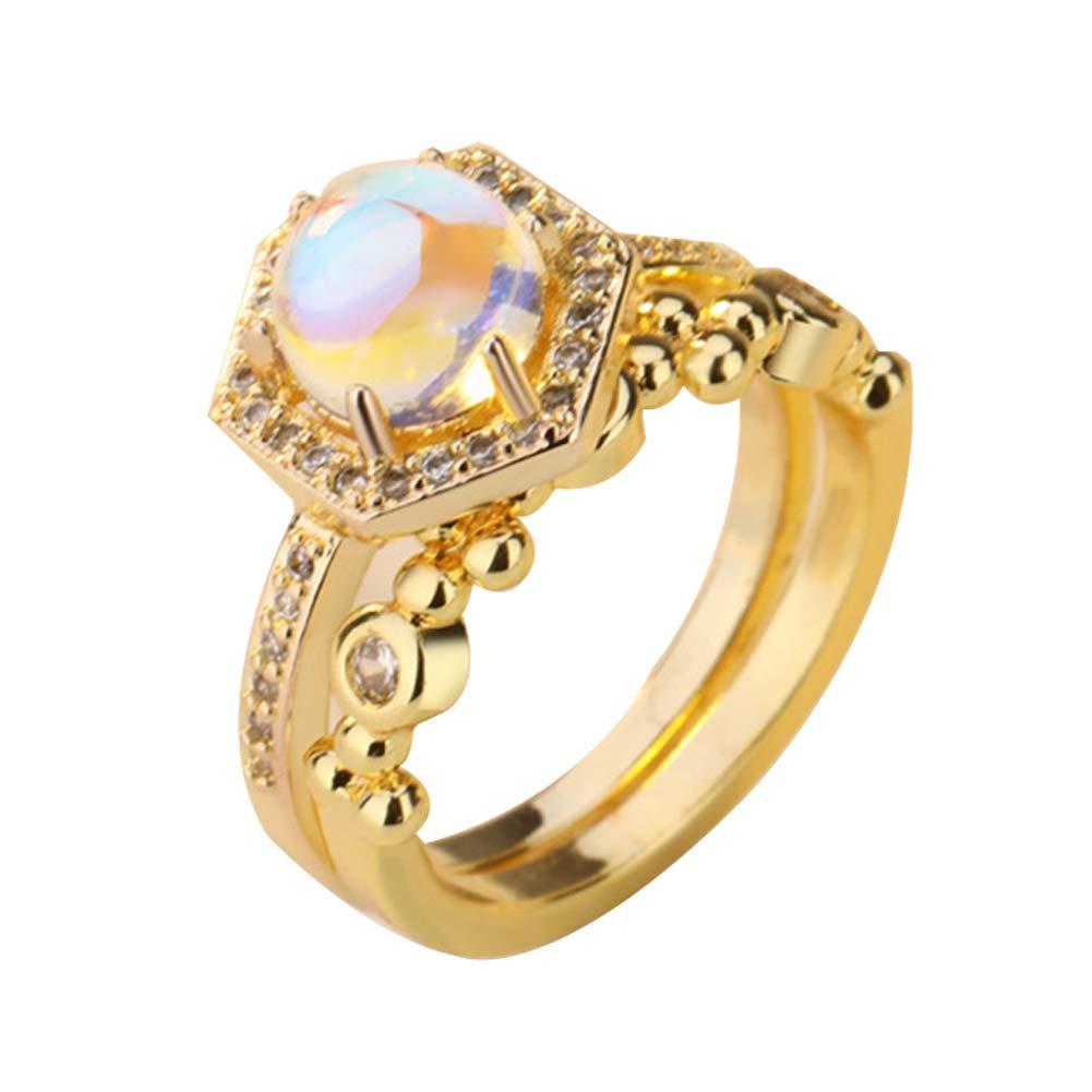 Alamana 2Pcs/Set Fashion Faux Moonstone Finger Ring Women Engagement Propose Jewelry Golden US 5