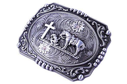 Custom Pewter Belt Buckles (Religion Cross Cowboy And Horse Design Belt)