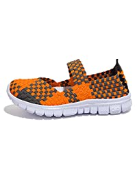 Vivident Women's Ultra Lightweight Multicolor Flying Woven Summer Shoes Breathable Slip-on Shoes