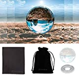 "Crystal Ball Photography, K9 Clear Glass Ball Art Decor for Photography Props Accessory Feng Shui Magic Globe Sphere Quartz Crystal Meditation Healing Home Office Decoration (80mm/3.15"", Clear)"