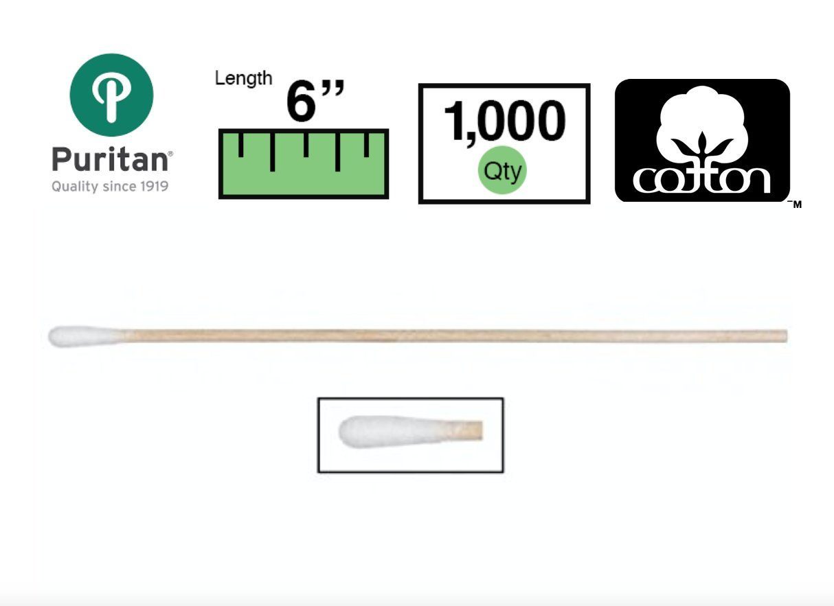 Puritan 806-WC Cotton Tipped Non-Sterile Applicators/Swabs with Wood Shaft, 1/10'' Diameter, 6'' Overall Length (1000 Per Box)