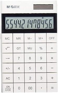 Calculator Dual Power Supply, Simple Flat Desktop Large Screen Calculator, 12-bit Widescreen Display, Adjustable Back Frame (Color : White)
