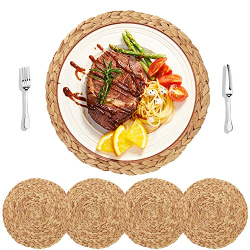HomeDo 4Pack Large Round Woven Placemats for Dining Table, Water Hyacinth Straw Braided Placemat, Heat Resistant Non-Slip Weave Placemats Handmade(Grass-4, 11.8''(30cm)) ...