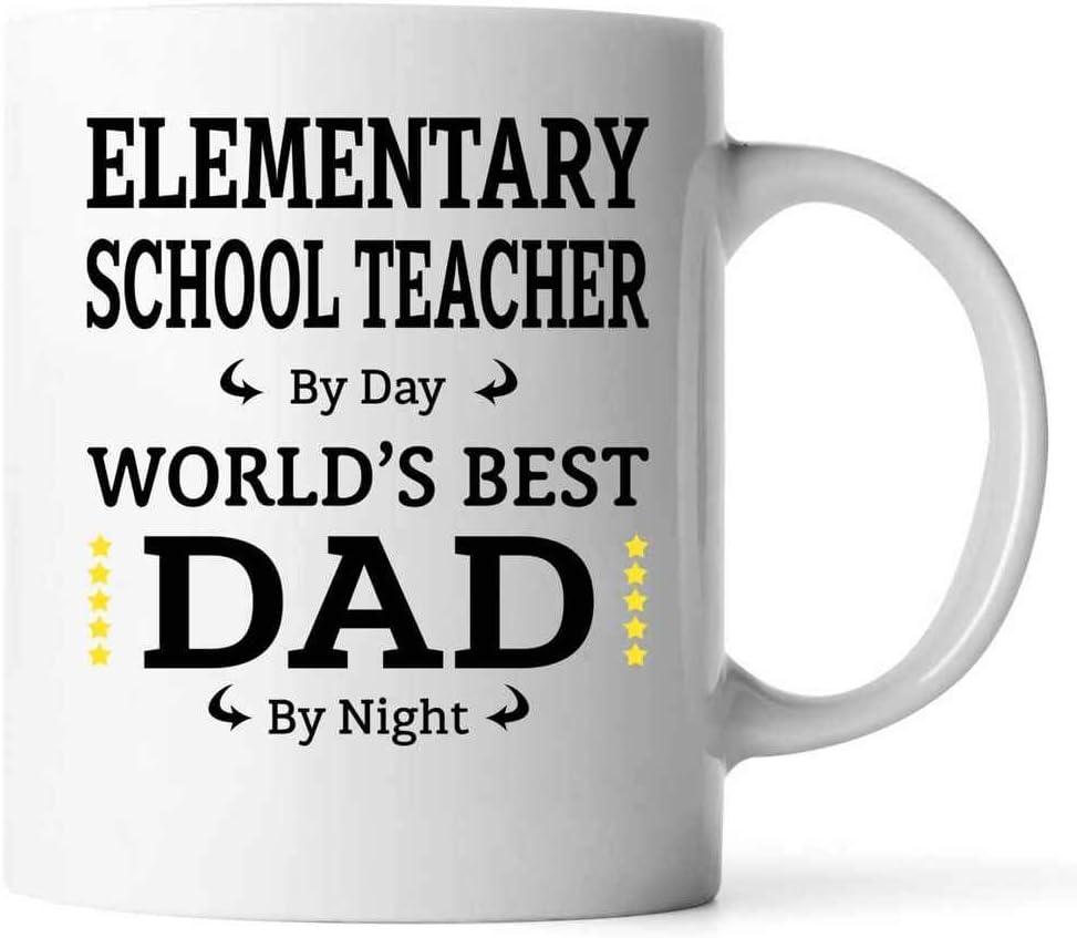 Regalo divertido del día de padre para el PROFESOR DE ESCUELA PRIMARIA Papá 11oz Taza de café con leche PROFESOR DE ESCUELA PRIMARIA Por día Papá Por noche