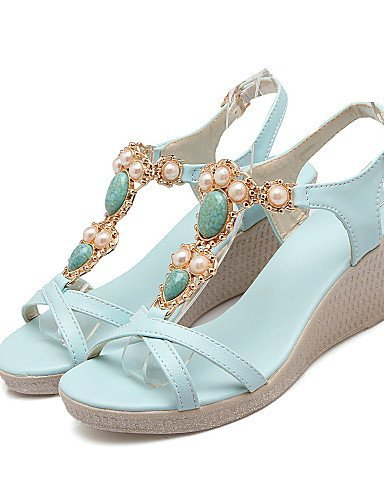 462957853d56 ... ShangYi Women s Shoes Wedge Heel Pointed Toe Sandals Dress Blue White  White DFCbFB