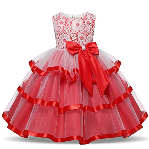 - TTYAOVO Flower Girls Wedding Dress Bowknot Princess Pageant Dresses 6-7 Years T-Red (Size 150)