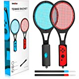 Tennis Racket for Nintendo Switch - innoAura Tennis Racket for Joy-Con Controllers for Switch Game (2Pcs, Black)