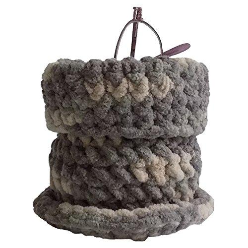 Hand Crocheted Soft Eyeglass Basket -Upright Standing Eyeglass Case or Eyeglass Holder for Desktop, Nightstand, and Countertop - Multicolor Grey