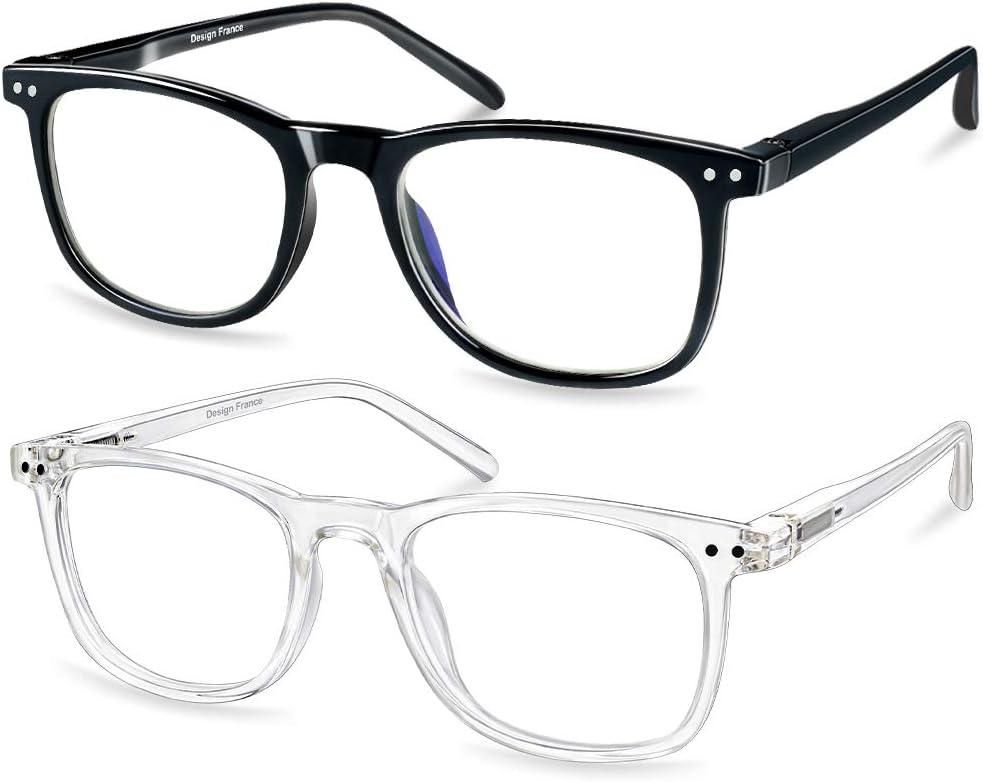 Gafas Bloqueo Luz Azul 2 piezas, APOSHION Gafas de Lectura Protección UV400 con Lentes Alta Transparencia, Gafas ordenador Antideslumbrantesi Protegen la Fatiga Ocular de TV/PC/Smartphone, Unisex