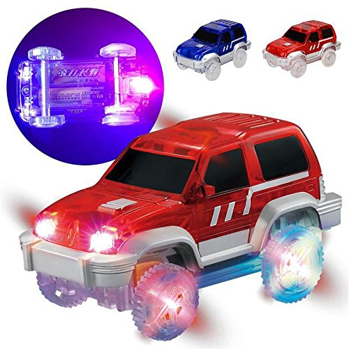 Car Track, Light Up Toy Musical Racing Car 2PC Glow in the Dark Racing Track Accessories Car Toy LED Flashing Automatic Car Toys, Boys and Girls (Blue and Red) (Cat Battery Racing Red Case)