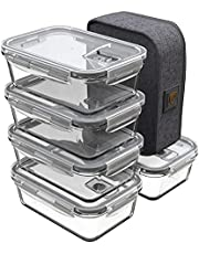 GENICOOK Pojemnik na lunch Bento z torbą na lunch, pojemnik na żywność, szklany, idealny do przygotowywania posiłków – bez BPA, do kuchni w domu lub w podróży (5 x 840 ml)