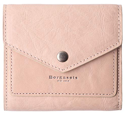 Small Leather Wallet for Women, RFID Blocking Women's Credit Card Holder Mini Bifold Pocket Purse (Ice Pink)