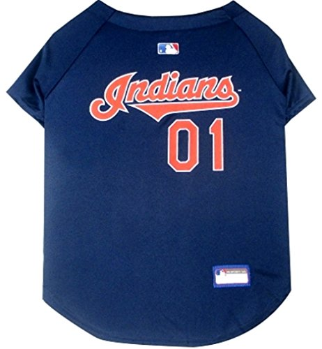 Pets First MLB Cleveland Indians Dog Jersey, Small. - Pro Team Color Baseball -