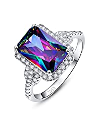 Merthus 925 Sterling Silver Created Mystic Rainbow Topaz Halo Engagement Ring for Women
