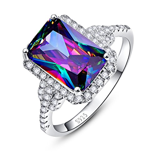 Merthus Womens 925 Sterling Silver Created Mystic Rainbow Topaz Halo Engagement (Three Tone Trinity Ring)