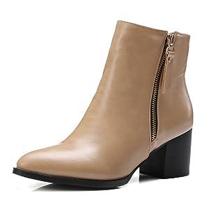 Aisun Women's Fashion Pointed Toe Double Side Zipper Chunky Medium Heels Booties Shoes Brown 6.5 B(M) US