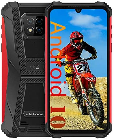 "Ulefone Armor 8 Rugged Cell Phones Unlocked, Android 10 Helio P60 Octa-core 4GB + 64GB ROM, 16MP Triple Rear Camera + 8MP Front Camera, 6.1"" HD+ 5580mAh Battery Dual SIM 4G Rugged Smartphone -Red"