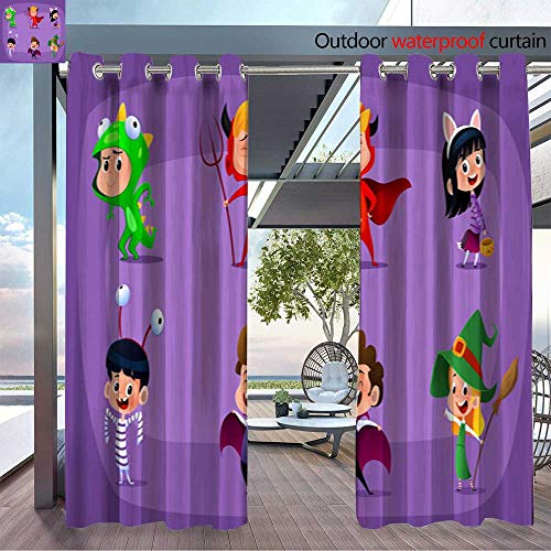 BlountDecor Balcony Curtains Group of Kids in Halloween Costume Outdoor Patio Curtains Waterproof with Grommets W84 x L96/Pair ()