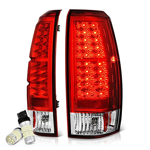 [Full SMD LED Reverse Bulbs] - VIPMotoZ 2007-2013 Chevrolet Avalanche LED Taillights Taillamps, Driver and Passenger Side Black Diamond Bright Xenon Bulb