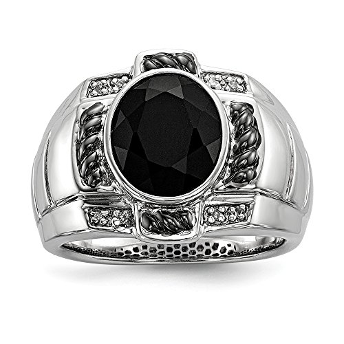 925 Sterling Silver Diamond Black Onyx Oval Mens Band Ring Size 11.00 Man Fine Jewelry Gift For Dad Mens For Him