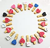 QTMY 22 Pcs Heart Love Pink Wooden Clip Hanging Photos with Twine Decoration Supplies Favors