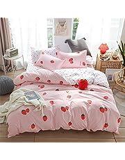 Meiju Beddengoed Set 3 stuks, Fruit Printing Quilt Dekbedovertrekken en 2 kussenslopen Single Double Super King Size Bed Microfiber Polyester Ademend Rits Gemakkelijk te onderhouden