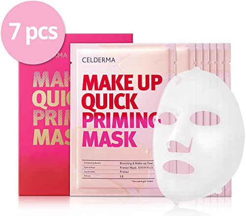 CELDERMA Make Up Base & Priming Face Sheet Mask (7 pcs), Quick Blemish Reduction and Color Correction for all Skin Conditions