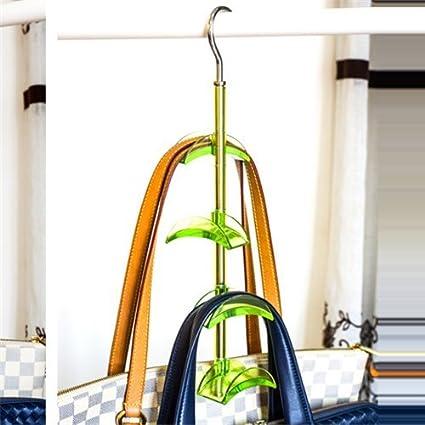 Stock Show 1Pcs 4 Hooks Rotateble Closet Accessories Handbags/Purse Hanger  Storage, Blue/