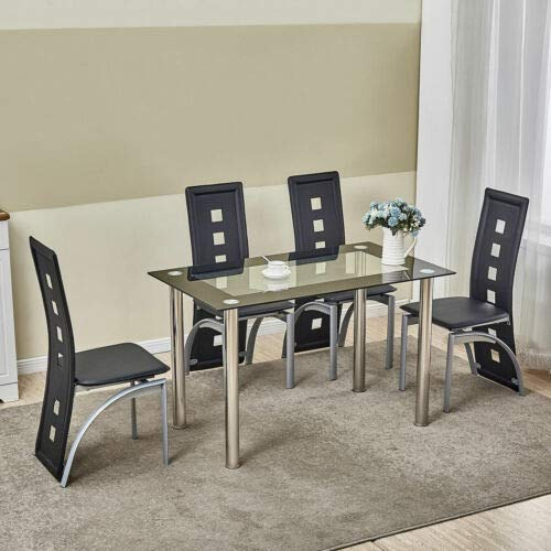 5 Piece Dining Table Set Black Glass 4 Chairs Seats Kitchen Dinette Home Decor (Seater And 6 Table Dining Extendable Chairs)