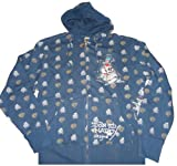 Men's Ed Hardy Patch Graphic Hooded Sweat Jacket Hoodie Navy (Large)