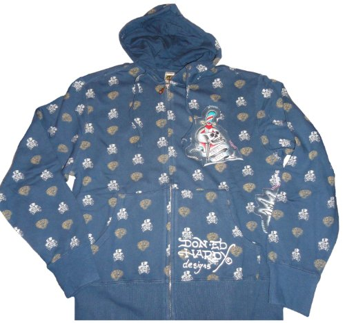 Men's Ed Hardy Patch Graphic Hooded Sweat Jacket Hoodie Navy (Large) (Jacket Man Hardy Ed)