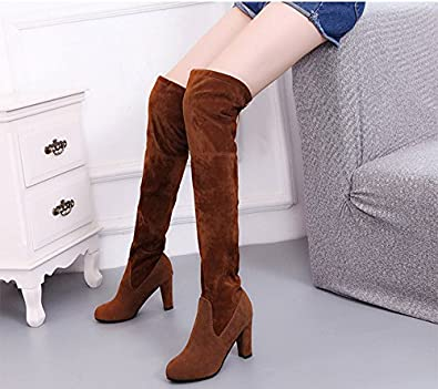 6030282ac Brooklyn Walk Thigh High Women's Winter Boots Faux Suede Leather High Heels  Over The Knee Boots Women Plus Size Shoes Woman 34-43: Buy Online at Low  Prices ...