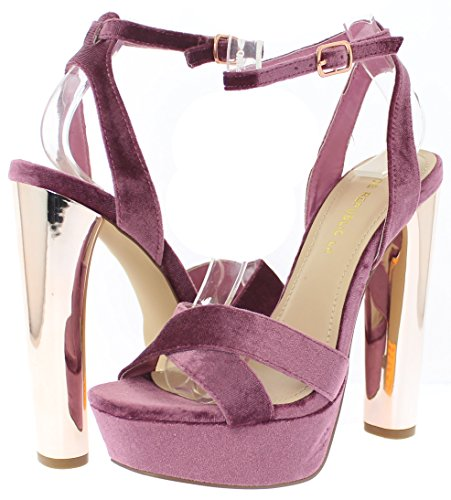 Platform Metallic Pomona w Strap Heel Plum Republic Shoe Toe Sandal Open Ankle xg1qXX6